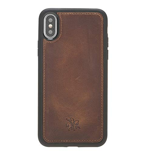 Venito Lucca Leather Case Compatible with iPhone X and XS – Disinfected with a UV Sanitizer – Extra Secure with Padded Back Cover - Antique Brown