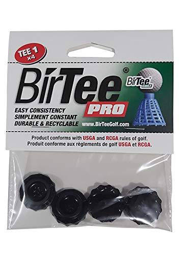 BirTee Pro Golf Tees - Size #1 (1 4 ) Individual Size Pack - 4 Tees Per Pack. Winter Mat Simulator Tees (Black)