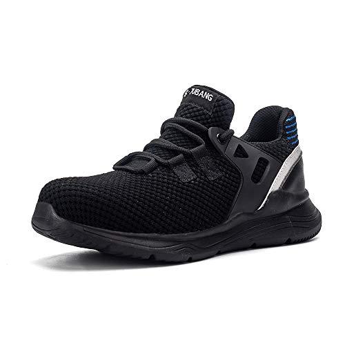 Zapatos de seguridad para mujer y hombre con puntera de acero, ligeros, para trabajar, botas de seguridad, zapatillas de deporte, color Negro, talla 37 EU