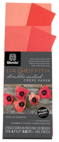 Lia Griffith Krepppapierrolle Doppelseitiges Krepppapier, falten, rollen 6.7-Square Feet Strawberry and Tulip Pink, Flamingo and Peony Pink