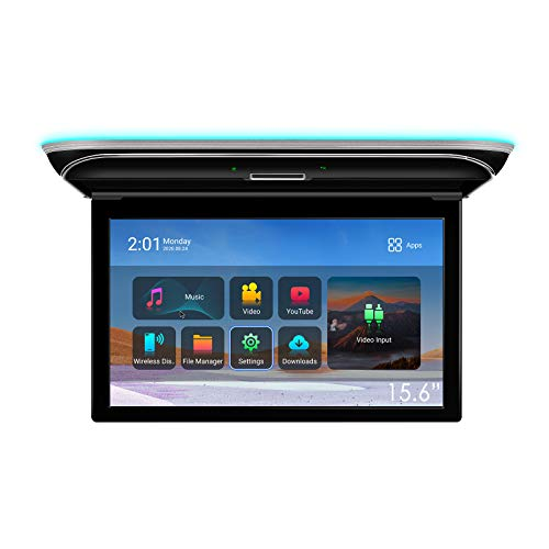 """XTRONS Android Car Overhead Player 15.6"""" Wide IPS Touch Screen 8K Video Car Roof Mount Monitor with Built-in Stereo Speakers Flip Down Overhead Car Monitor Support Bluetooth, WiFi, HDMI, USB, FM, IR"""