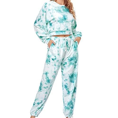Damen Trainingsanzüge 2 Stück Langarm Casual Pullover T-Shirt Tops und Kordelzug Hosen, Tie Dye Jogger Sweatshirts, Outfits für Frauen