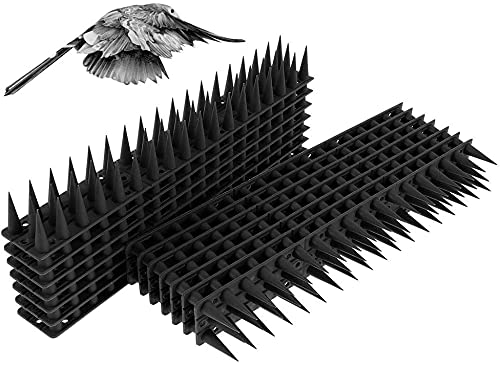 Maalr 14Pezzi Repellente per Uccelli in Plastica, Anti Dissuasori/Uccelli/Piccioni/Gatti Repellente Pannelli Spikes, Spike Repellenti per Esterno, Muro, Recinzione - 33 x 4,5 x 3,5 cm (Nero)