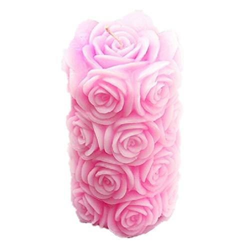 Vancgoods Big Rose Zylinder Kerze molds flexible Hochzeitstorte Dekoration Craft Fimo DIY Kerze Silikon-Form-Form