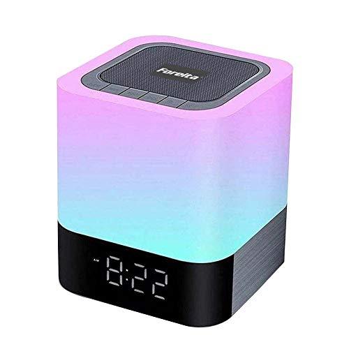 Foreita Nattlampor Bluetooth-högtalare - beröringssensor nattduksbordslampa dimbar nattlampa digital kalender väckarklocka stödjer MP3-spelare bästa gåvor för barnkalas