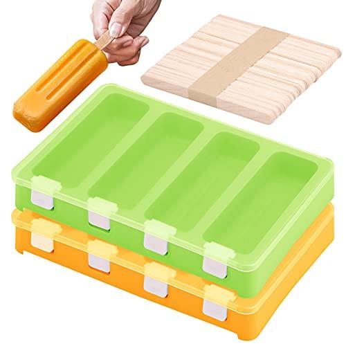 Paquete de 2 Moldes para Helados de Silicona con tapa protectora moldes...