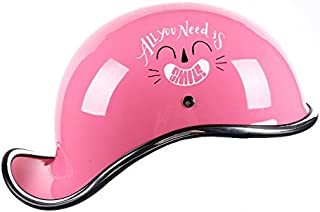 Leoie Motorcycle Retro Half Helmet Open Face Motorcycle Racing Off Road Helmet Pink Smile L