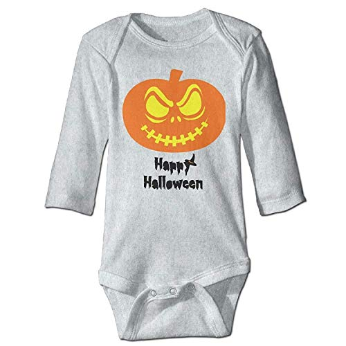 MSGDF Unisex Newborn Bodysuits Happy Halloween Girls Babysuit Long Sleeve Jumpsuit Sunsuit Outfit Ash
