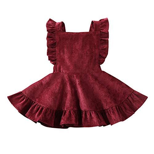 Specialcal Baby Girls Velvet Suspender Skirt Infant Toddler Ruffled Casual Strap Sundress Summer Outfit Clothes (12-24M, Wine Red 2(Velvet))