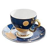 Juego de taza de café y platillo de cerámica con mango dorado estrellado de estilo europeo