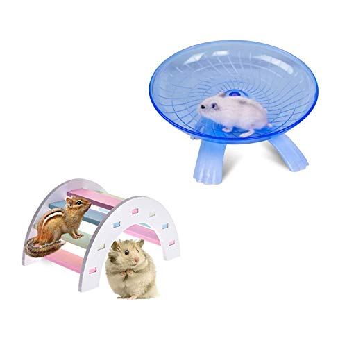 2 Pack Rat Flying Saucer Exercise Wheel & Wood Bridge Rainbow Climb - Durable ABS Plastic Running & Jogging Running Silent Spinner - For Mouse Hedgehog Chinchilla Pets Mice Hamsters Gerbil Cage Toy