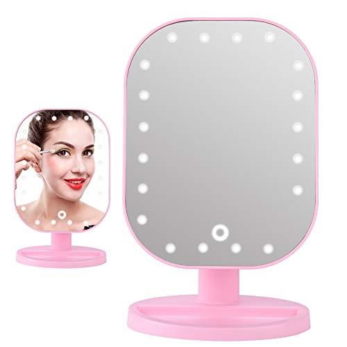 LED Make-up Spiegel, 20 LED Verlichte Vanity Spiegel met 10X Vergroting Tafelblad Cosmetische Spiegel met 180° Draaibaar Ontwerp, Roze