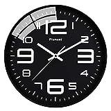 Plumeet Reloj de Pared Silencioso, Reloj de Cuarzo sin Tic-TAC con Batería de 30cm, Diseño Moderno Apto para Decorar Hogar Oficina Escuela (Negro)