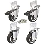 4 Pcs 1.5 Inches L-Shaped Side Mount Caster, TPR Rubber Mute Wheel for Baby Bed, Carts Trolley, Kitchen Cabinet, Furniture, Table- 2 Swivel 2 Swivel w/Brake