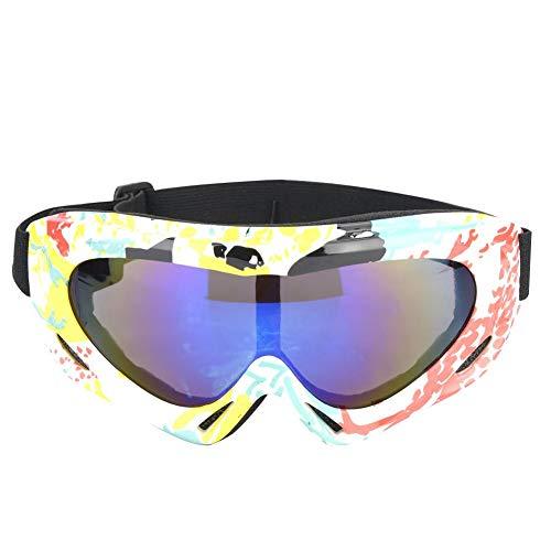 Sneeuwbril, professionele enkele lens UV-bescherming sport skibril (geel wit)