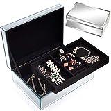 Meetart Silver Glass Mirrored Jewelry Organizer Removable Two-Layers Storage Organizer Jewelry Holder High-end Luxury Big Mirror Box