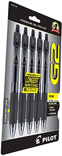 Pilot G2 Premium Refillable & Retractable Rolling Ball Gel Pens, Fine Point, Black Ink, 3 Pack of 5 (31078)