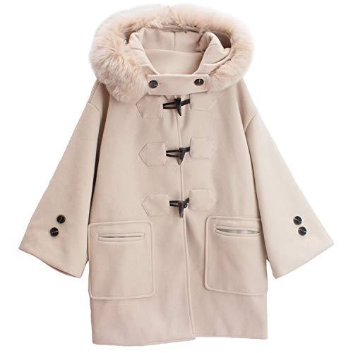 Feing Women Coat Slim Lungo Cappotto di Lana con Cappuccio Corno Bottone di Lana Misto Cappotto E Giacca Tasche Donne Cappotti - Beige - L