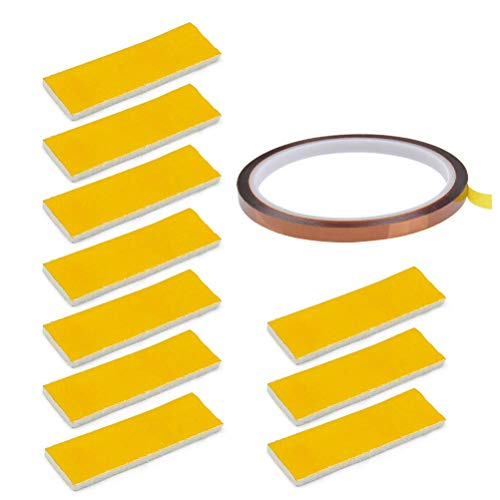 YOTINO 11 Pezzi Isolamento in Cotone Hotend Nastro, 10 Pezzi Cotone di Blocco (20mm*70mm*3mm) + 1 Pezzi Nastro ad Alta Temperatura (33m*0.6cm*0.5mm) per Hotend per Stampante 3D