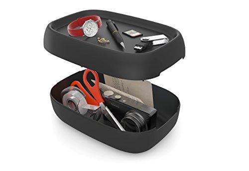 Rotho Sofia kleine Aufbewahrungsbox/Dekobox 3 l mit Deckel, Kunststoff (PP), schwarz, 3 Liter (25 x 18 x 9,8 cm)