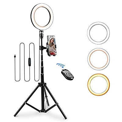 "8"" LED Ring Light with Tripod Stand&Phone Holder, Moreslan Dimmable Selfie Ring Light LED Camera Ringlight for YouTube Make Up Live Steaming TikTok Photography Compatible with iPhone Xs Max XR Android by Moreslan"