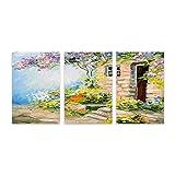 PATINISA Pintura de paisaje europeo verano coloridas flores en el jardín,Painting Cuadro sobre Lienzo Canvas Wall Art para Colgar Impresión de la Lona 30x45cm
