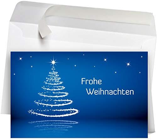 50 Premium Premium Weihnachtskarten incl. Umschläge Motiv: modern blau, Set: hochwertige Klappkarten (Querformat 19x12 cm groß), ideal für Ihre Weihnachtsgrüße von Firmen, Gewerbe und Dienstleistung