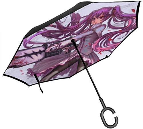 shihuainingxiance Umgekehrter winddichter Regenschirm Akame Ga Mine - Umgedrehte Regenschirme mit C-förmigem Griff für Frauen und Männer - Double Layer Inside Out-Taschenschirm