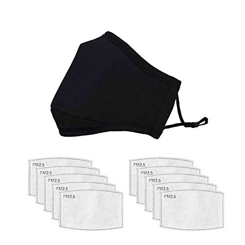 1 Adult Cotton Mouth Cover & 10pcs Activated Carbon Inserts for Sports Outdoor Activities, Black