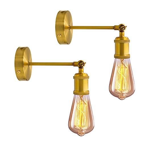 Industriale dell'annata Applique da Parete 2 Pezzi Regolabile Testa in rame Retro Wall Light con Portalampada E27 per Casa, Bar, Ristoranti, Club Ottone (lampadina non inclusa)