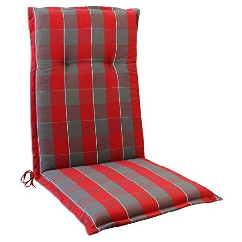 OUTLIV. Polsterauflage Florence Stapelsessel-Auflage Sitz- Rückenkissen 110x50x6 cm Sitzauflage für Gartensessel und Gartenstuhl (Rot-Grau Kariert)