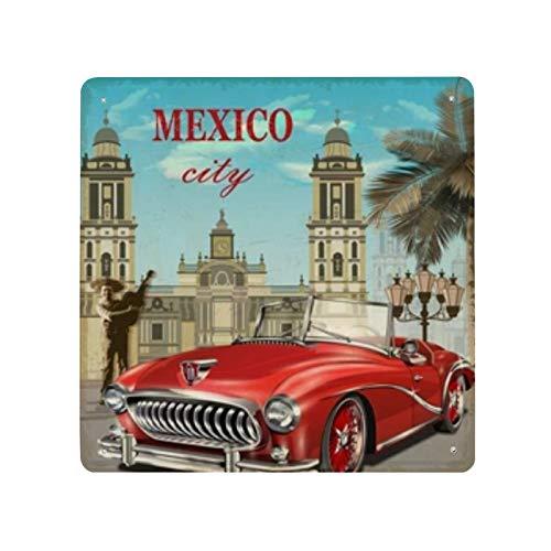 Cartel retro de México cartel de cartel de pared de hojalata pared de Metal de hierro decoración de pared de aluminio placa decoración Cafe Bar 30x30cm