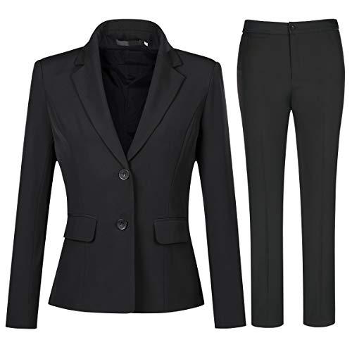 YYNUDA Conjunto de traje para mujer, traje de negocios, ajustado, blazer con pantalones de traje, elegante para oficina y bodas Negro XL
