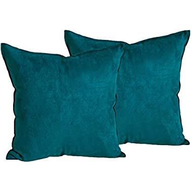2-Pack Cushion Covers Comfortable Faux Suede Decorative Throw Pillow Covers 18 x 18 inches Pillowcases, Deep Teal