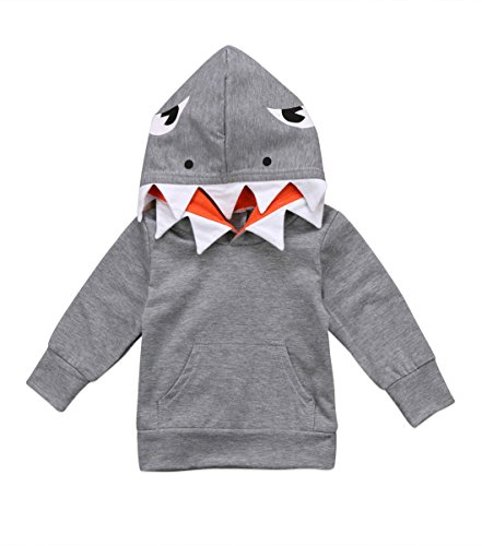 Urkutoba Unisex Baby Autumn Winter Shark Hooded Sweatshirt Infant Boys Girls Hoodies with Kangaroo Muff Pockets& Shark Fin (Gray, 5-6 Years)