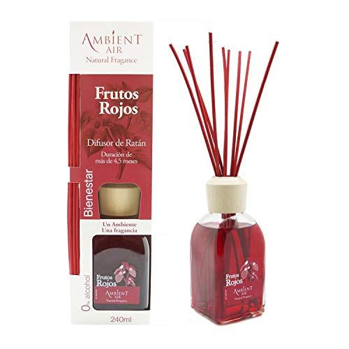 Ambientair Classic. Difusor de varillas perfumadas. Ambientador Mikado aroma Frutos Rojos. Difusor 240 ml con palitos de ratán. Ambientador sin alcohol para casa.