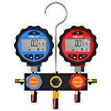 Elitech DMG-3B AC Manifold Gauge Set 2 Way Fits R134A R410A and R22 Refrigerants with Hoses Coupler Adapters+ Carrying Case