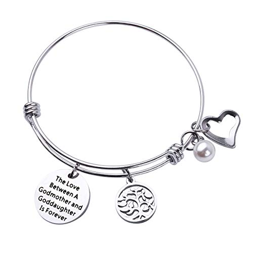 RUNXINTD Godmother Gift The Love Between a Godmother and Goddaughter is Forever Bracelet Religious Jewelry Baptism Gift Christening Gift (Bracelet)