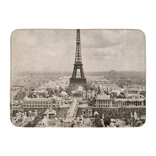 YnimioHOB Badematte Antenne Eiffelturm 1900 Ansicht Architektur Belle Epoque Badezimmer Dekor Teppich