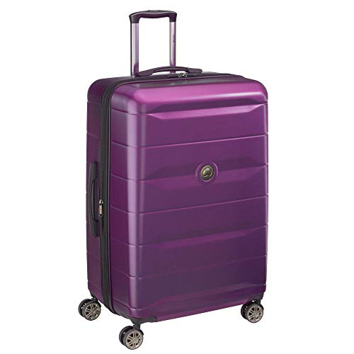 DELSEY Paris Comete 2.0 Hardside Expandable Luggage with Spinner Wheels, Purple, Checked-Large 28 Inch,40386583008