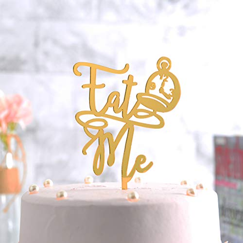 Gold Funny Cake Topper-Eat Me, Birthday/Wedding/Baby Shower Party Gift Photo Booth Sign Decoration