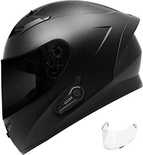 GDM VENOM Motorcycle Helmet with GDM HYPERSONIC Bluetooth Intercom Matte Black (Tinted & Clear Shields, Medium)