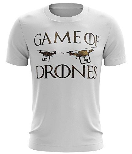 Stylotex Fitness T-Shirt Game of Drones Funktions-Stoff schnelltrocknend, Farbe:Weiss;Größe:XXL