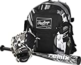 Rawlings Remix Series Youth 9' Tball Glove (Right Hand Throw), 24' Tball Bat & Tball Backpack Bag Set (Black/White/Silver)
