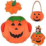 Tuofang Costume da Zucca per Bambini, Costume da Zucca di Halloween, Piccola Zucca con Cappello e Sacchetti di Caramelle, per Bambini, Ragazzi e Ragazze, per Cosplay