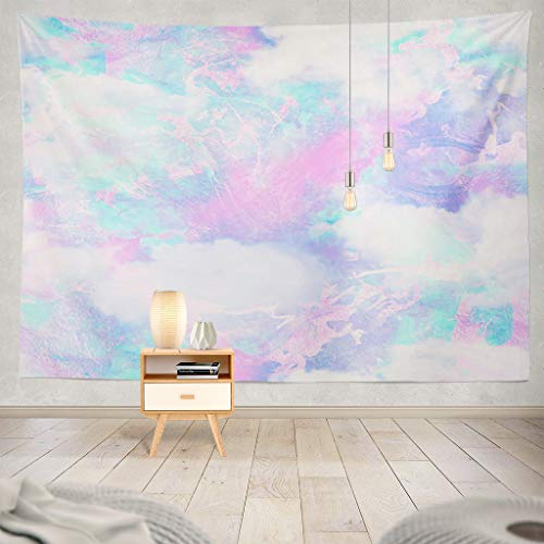 ONELZ Trippy Tapestry, Tapestry Wall Hanging Repeat Cloud Galaxy Gold Abstract Blue Fantasy Foil Magical Marble Pink Decor Collection Bedroom Living Room 60 L x 80 W Polyester