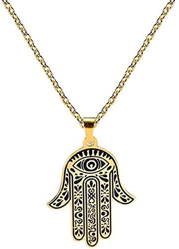 CAISHENY Collar con Colgante de Mano para Mujer, Gargantilla de Acero Inoxidable, Cadena Religiosa para Hombres, joyería, Regalo, Longitud 52 cm, tamaño Pendiente 29 * 23,4 Mm