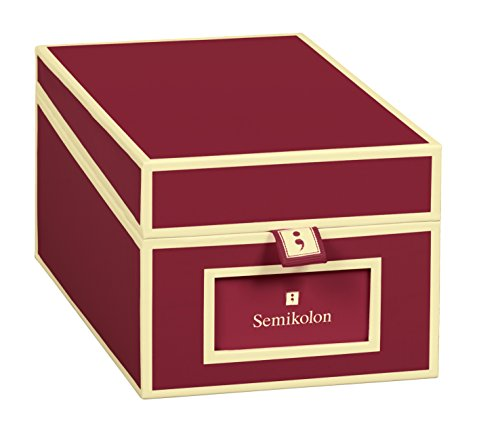 Semikolon (352640) Visitenkarten-Box mit Registern in burgundy dunkel-rot - Bussiness-Card-Box - Alternative zu Visitenkartenmappe, Karteikasten