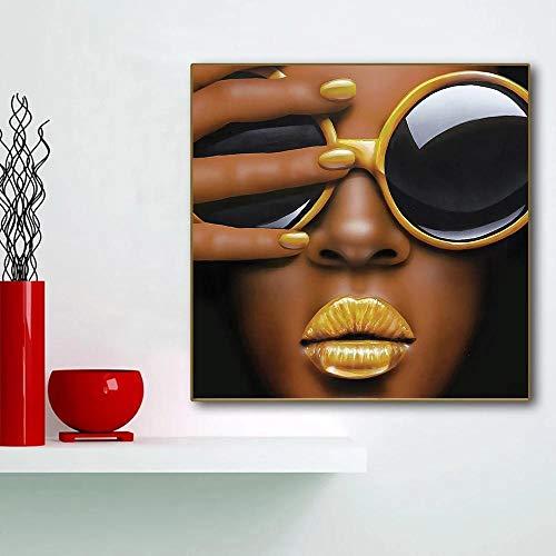 XLXZZ Resumen Sexy Bad African Girl con Gafas de Sol Carteles Pinturas Chica Sexy Lips Cartel e Impresiones Lienzo Arte de la Pared Decoración para el hogar-50x50cmx1 pcs sin Marco