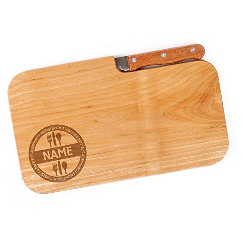 Cera & Toys® Frühstücksbrett aus Holz mit Messer und gratis Gravur des Namens - Mahlzeiten